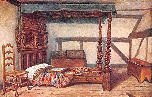 Bedstead, Anne Hathaway's Cottage Stratford Upon Avon United Kingdom, Great Britain, England Postcard (Antique Bedsteads)
