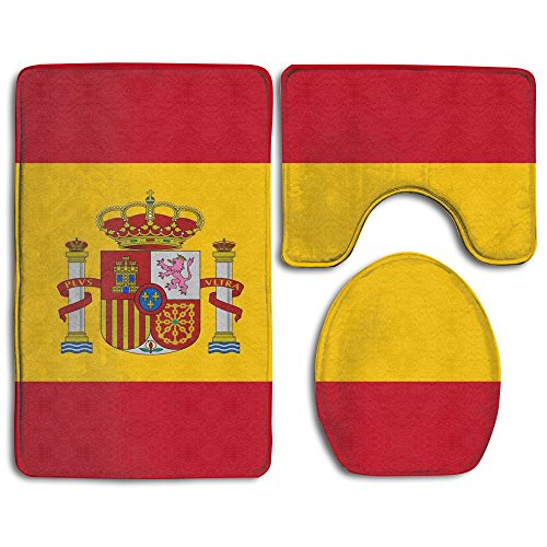 Country National Flag Of Spain 3 Piece Flannel Bathroom Rug Set Pedestal Rug Lid Toilet Cover Bath Mat Set by Mencross