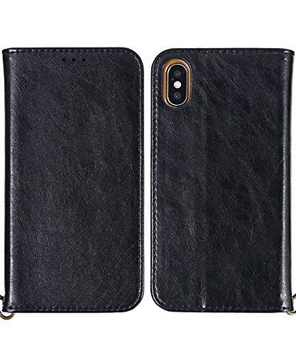 Greetings Rub (iPhone 10 Case,iPhone X Wallet Case, FLYEE Slim Folio Book Cover PU Leather Magnetic Protective Cover with Credit Card Slots, Cash Pocket, Stand Holder for Apple iPhoneX iPhone10 Black)