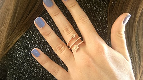 Sterling Silver Womens Teens Arrow Ring with Cubic Zirconia (Sexy Outfits Online)