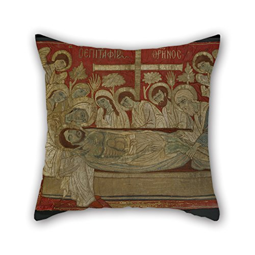 16 X 16 Inch / 40 By 40 Cm Oil Painting Poulopos Theodosia - Epitaphios Throw Pillow Case,both Sides Is Fit For Divan,seat,home,shop,home Office,home Theater (Hunter S Thompson Halloween)