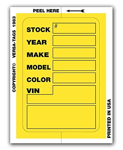 Decal Tag - Versa Tags Kleer-bak Stock Stickers (Yellow)