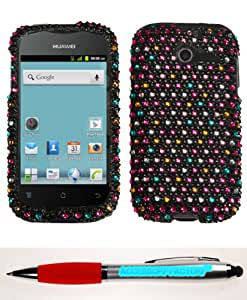 Accessory Factory(TM) Bundle (Phone Case, 2in1 Stylus Point Pen) HUAWEI M866 (Ascend Y) Sprinkle Dots Full Diamond Bling Phone Protector Cover Stylish Design Snap On Hard Case Faceplate Shell