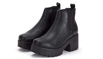 b2f7bb9c362d3 Ladies Womens Black Brown Chunky Cleated Sole Platform Block Heel Biker  Chelsea Ankle Boots (4