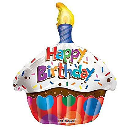 Image Unavailable Not Available For Color Kaleidoscope Happy Birthday Cupcake Foil Mylar Balloon