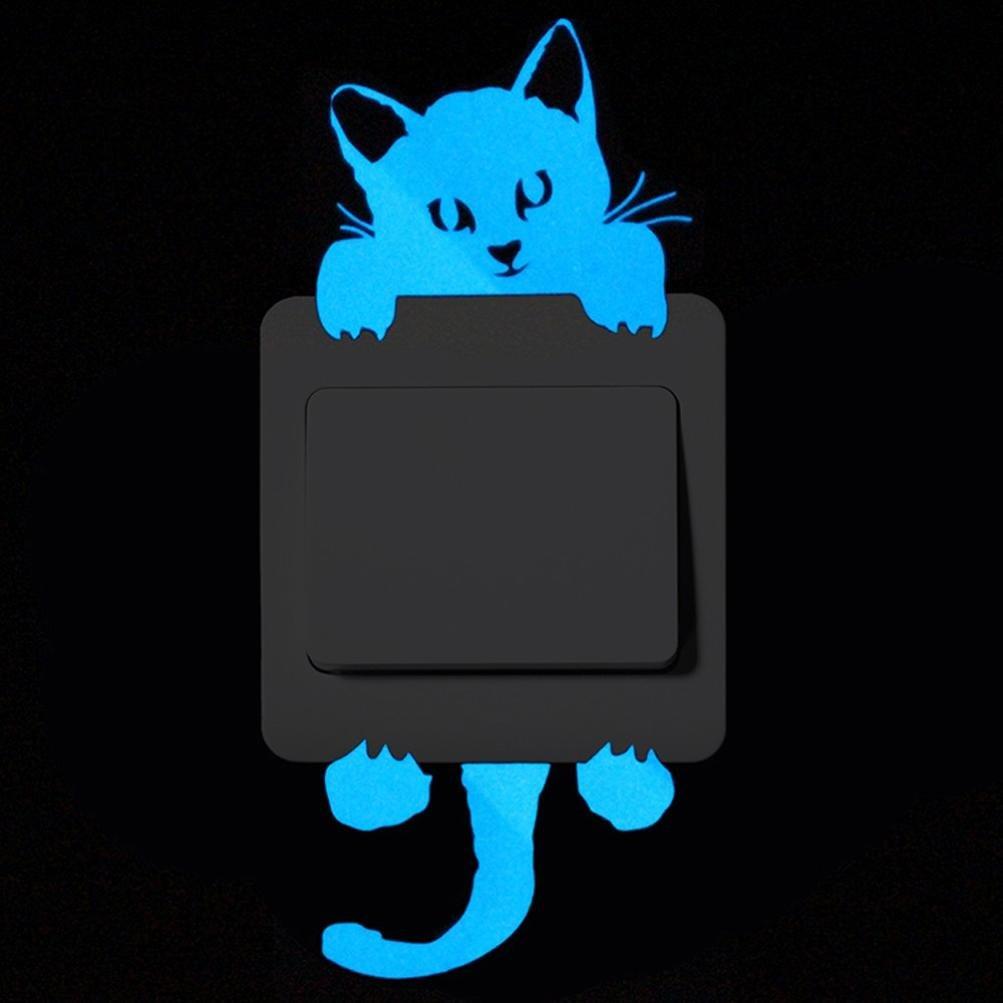 Coloré(TM) Chat Autocollant Mural lumineux dans l'obscurité, Interrupteur Décorations Chambre de bébé Stickers (B)