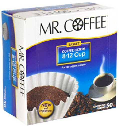 Mr. Coffee Basket Coffee Filters, 8-12 Cup, White Paper, 8-inch, 50-Count Boxes (Pack of 12) (Packaging May Vary)