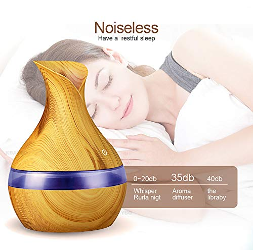 NJBRL Mini Aroma Diffuser 300ml Wood Grain Aromatherapy Diffuser Ultrasonic Cool Mist Humidifier with 7 Color LED Night Light Waterless Auto Shut-off for Bedroom Office