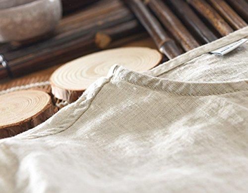 Icegrey Camicia Uomo Camicie di Lino a Maniche Corte Henley Shirt Top Pullover Estive Camicia Beige 44