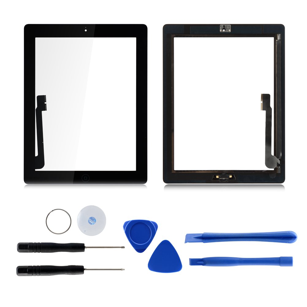 Black 9.7'' Touch Screen for iPad 3 A1416 A1430 A1403 WIFI GSM CDMA Digitizer Assembly Kits Included Home Button & Camera Holder + Free Tool Kits + Adhesive Tape Pre-attached by Tongyin