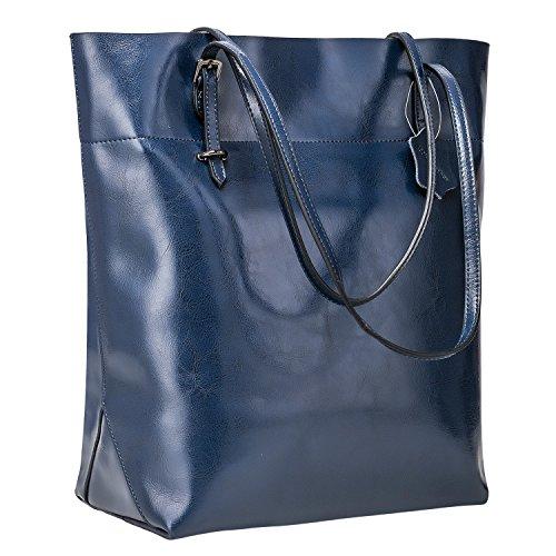 Blue Leather Tote Bag (S-ZONE Vintage Genuine Leather Tote Shoulder Bag Handbag Big Large Capacity Upgraded Version)