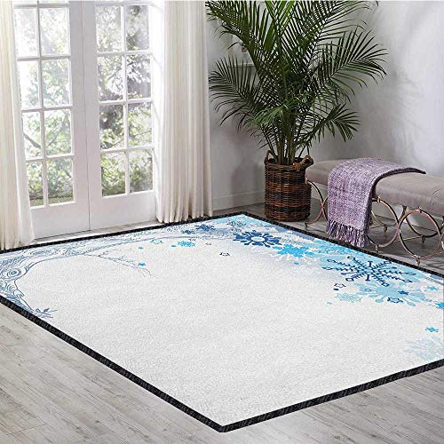 10' College Snowflake - Winter Non-Slip Area Rug Pad,Hand Drawn Abstract Tree with Snowflakes for Leaves Soft Colored Image Seasonal for Children Play Dormitory Blue Grey White 47