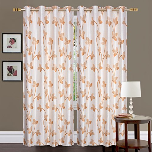 Fresh From Loom Eyelet Polyester 5 ft Window Curtain Screen Parda (Beige), 1pc