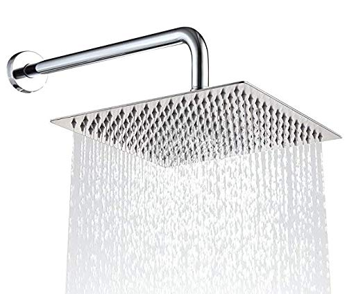 Polished Ten-Layer Chrome Finish with Leak Proof Thread Sealant Tape Easy Install BlueHills Premium 10-inch Square High-Pressure Rain Rainfall 304 Stainless Steel Rust Proof Luxury Shower Head