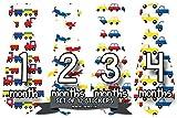 Months in Motion 758 Monthly Baby Stickers Necktie Tie Baby Boy Months 1-12 Airplane Train Cars Transportation