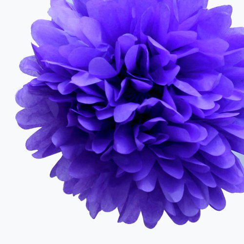 Dress My Cupcake 5-Inch Lavender Tissue Paper Pom Poms, Bridal Shower Decorations/Bridal Shower Party Supplies, Set of 8