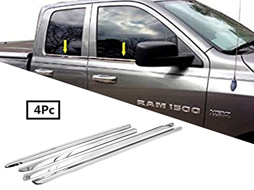 eLoveQ Polished Stainless Steel Chrome Window Sill Trims FOR 2009-2017 Ram 1500 Quad ()