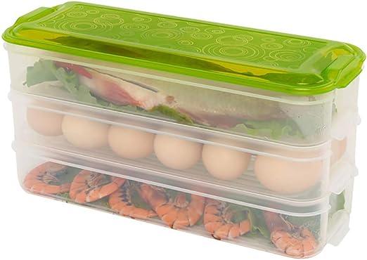 Alimentos Caja de almacenaje plástico multi-couche cocina frigorífico Rectángulo Gel Le tienda recipiente de con un tapa 3 Paquete, verde: Amazon.es: Jardín