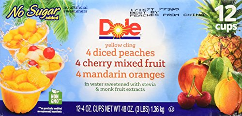 Dole Fruit Bowls, Peaches Mandarin Oranges and Cherry Mixed Fruit, 4 Ounce, 12 (Dole Peaches)