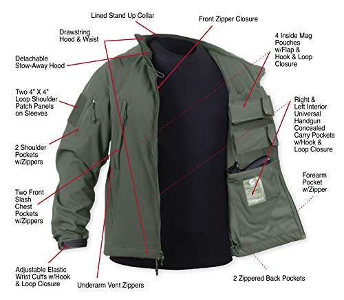 Rothco Concealed Carry Soft Shell Jacket, Olive Drab, -
