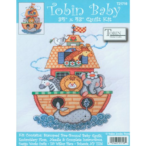 Tobin Noah's Ark Quilt Stamped Cross Stitch Kit, 34 by 43-In