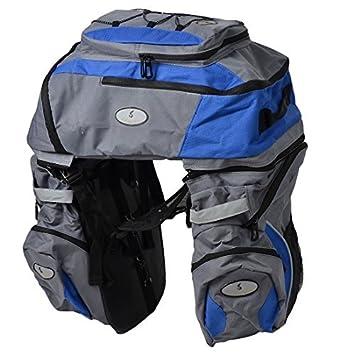 Assento DealMux poliéster traseira da bicicleta Waterproof Triplo bicicleta Saddle Bag azul w Raincoat