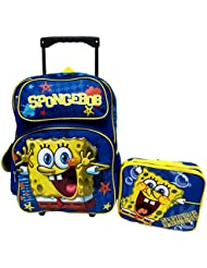 Sponge Bob Squarepants Nickelodeon Large 16' Rolling Roller Wheeled Book Bag Backpack & Lunch Box Set!