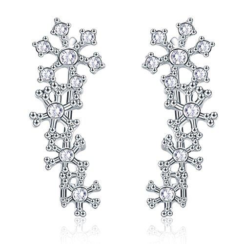 EVER SHINE Ear Cuff Climbers Crawlers Vines Hook Pierced Earings Snowflake Flower CZ Crystal (Silver Tone)