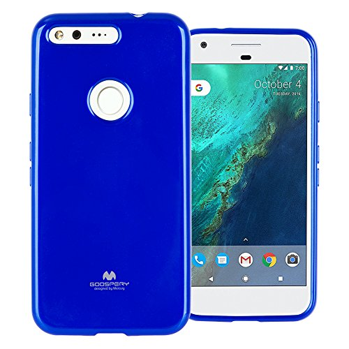 (GOOSPERY Marlang Marlang Google Pixel Case - Navy Blue, Free Screen Protector [Slim Fit] TPU Case [Flexible] Pearl Jelly [Protection] Bumper Cover for Google Pixel 2016, PIX-JEL/SP-NVY)