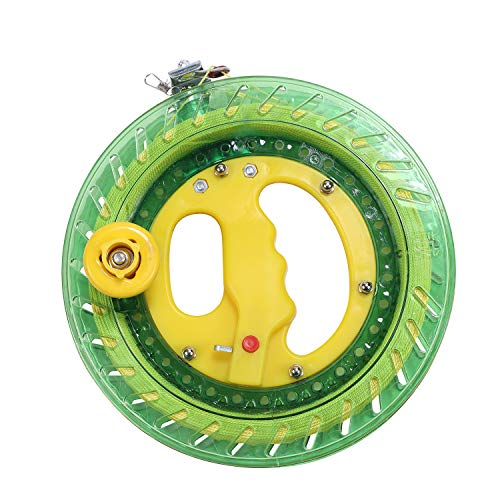 Flying Lines - ZS-Juyi 22CM Lock Green Winding Machine Fishing Reel Kite Line Professional Outdoor with 450 Flying Line String Flying Tools (Green, 22cm)