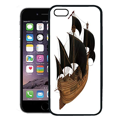 Semtomn Phone Case for iPhone 8 Plus case,Navy Anchor Pirate Ship 3D Model on Boat Cannon Captain Caravel iPhone 7 Plus case Cover,Black