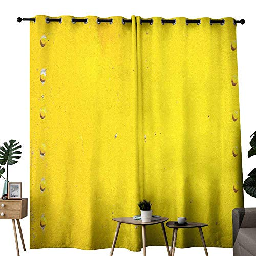 duommhome Yellow Fashion Curtain Vintage Worn Out Dirty Industrial Wall Plate and Tacks Photo with Productivity Theme Privacy Protection W84 x L108 Yellow