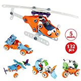 Efast STEM Learning Toys, 5-in-1 Toddler Building Construction Set, STEM Educational Engineering Building Blocks Toy Kit for 4-5+Year Old Boys& Girls