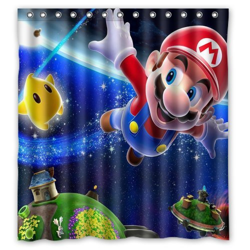 ScottShop fashion Custom Creative Super Mario Galaxy 2 Waterproof Mildew Shower Curtain Polyester Fabric Bathroom Shower Curtains 66