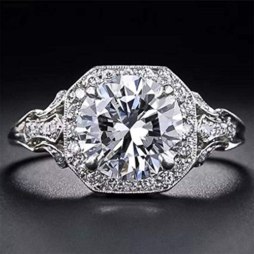 Aimys Vintage 2.6CT White Topaz 925 Silver Cubic Zirconia CZ Bridal & Engagement Ring Sizes 5 to 10 (8)