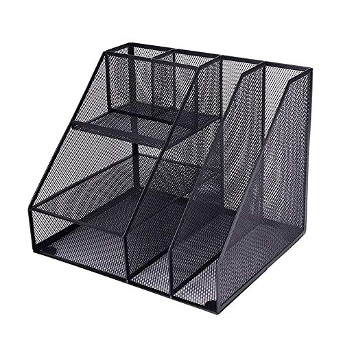 ZOUJUN Desk File Organizer Shelves,Organizers and Accessories Stackable Paper Tray Letter Trays Black Metal Mesh File…