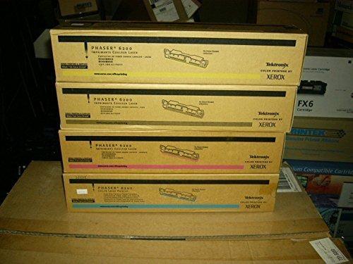Set of 4 GENUINE XEROX PHASER 6200 HIGH CAPACITY TONER TEKTRONIX 016200800, 016200700, 016200600, 016200500
