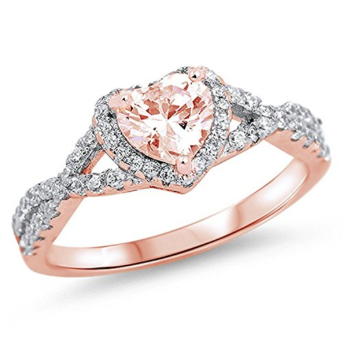 Heart Promise Ring - Halo Heart Promise Ring Infinity Shank Simulated Morganite Round CZ Rose Tone Rhodium 925 Sterling Silver, Size-7