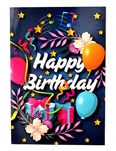 TIME TRADING CORPORATION Happy Birthday Musical Singing Greeting Card with a Touch of Sound for Friends, Wife, Husband, Relatives, Children, Parents