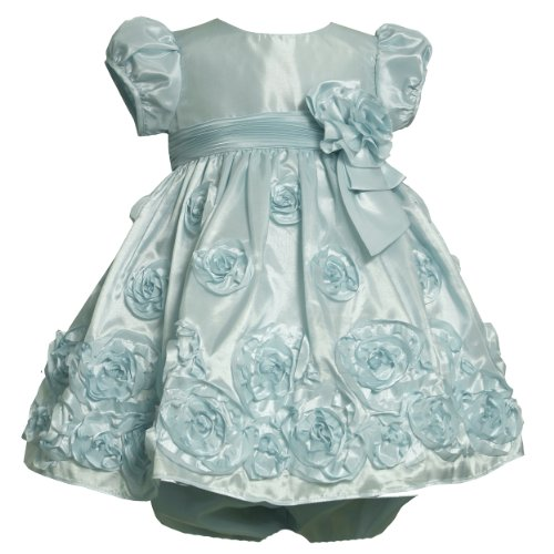 Bonnie Jean NEWBORN/INFANT 3M-24M 2-Piece AQUA-BLUE BONAZ ROSETTE BORDER TAFFETA Special Occasion Wedding Flower Girl Party Dress