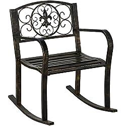 Topeakmart Bronze Outdoor Rocker Chair Furniture Rocking Porch Backyard Pation Seat