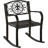 Topeakmart Porch Rocking Chair Sturdy Patio Metal Porch Rocker Porch Seat Deck Outdoor Backyard Glider Rocker in Bronze