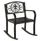 Topeakmart Porch Rocking Chair Sturdy Patio Metal Porch Rocker Porch Seat Deck Outdoor Backyard Glider Rocker in Bronze (1) For Sale