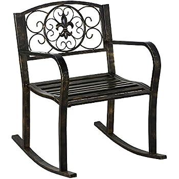 topeakmart sturdy patio metal rocking chair porch seat deck outdoor backyard glider rocker in bronze - Glider Rocker Chair