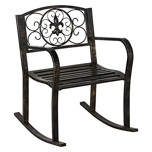 Topeakmart Sturdy Patio Metal Rocking Chair Porch Seat Deck Outdoor Backyard Glider Rocker in Bronze (Glider Metal Vintage)
