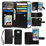 Case for Samsung Galaxy S6 Edge, xhorizon Premium Leather Folio Case [Wallet Function] [Magnetic Detachable] Fashion Wristlet Lanyard Hand Strap Purse Soft Flip Book Style Multiple Card Slots Cash Compartment Pocket with Magnetic Closure Case Cover Skin ZA5 for Samsung Galaxy S6 Edge (G9250) - Black