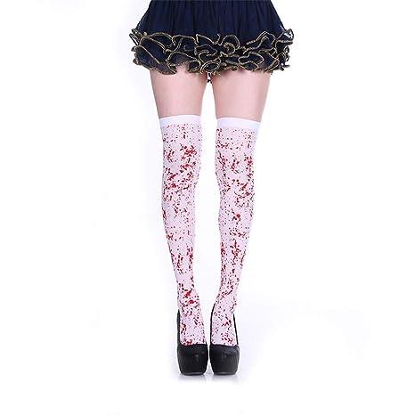Yunhigh Disfraces de Halloween Media Sangre de Las Mujeres Sobre la Rodilla Calcetines Horror Sangriento Sexy