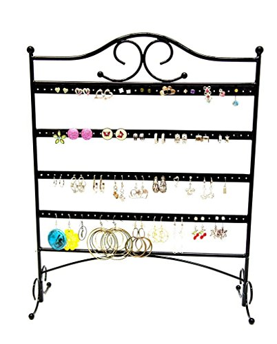 Bracelets Section Steel (Mango Steam Jewelry Organizer for Hanging Earrings, Black)