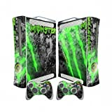 XBOX 360 Fat Vinyl Skin Sticker Decal Concrete Green Skin Scratch + 2 Controller Skins