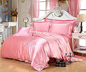 Ultra Soft Luxurious Satin 3-Peice Duvet Set Super Silky Vibrant with comes in many colors like Pink Full/Queen